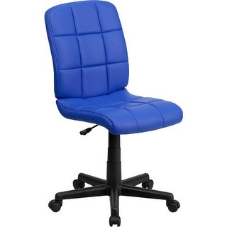 Aberdeen Mid-Back Blue Quilted Vinyl Swivel Home/Office Task Chair