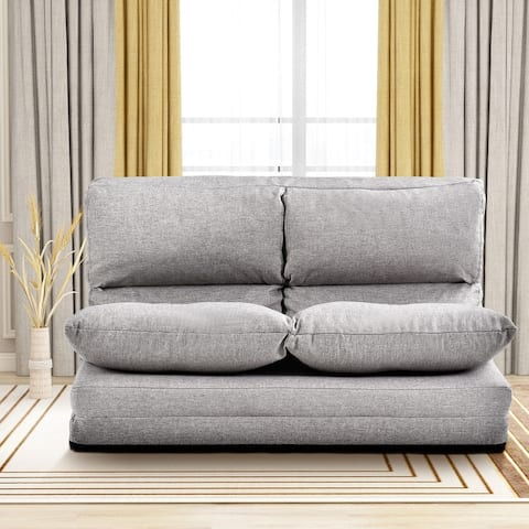 Gray Fabric Folding Chaise Lounge Floor Sofa