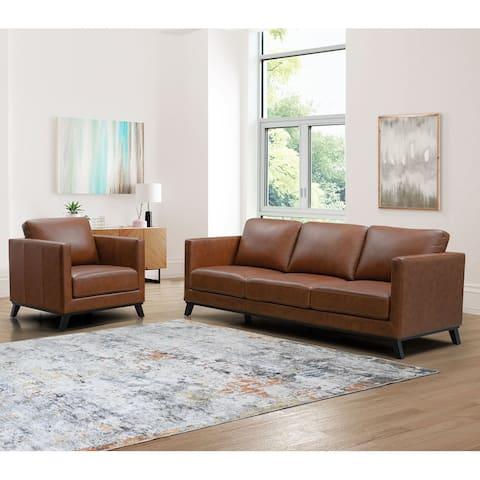 Abbyson Woodstock Mid Century Top Grain Leather Sofa and Chair