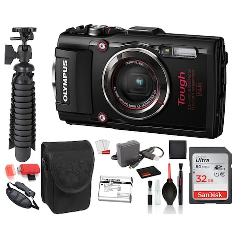 Olympus Stylus TOUGH TG-4 Digital Camera (Black) Advanced Bundle: