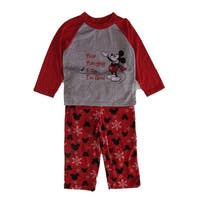Disney Little Boys Gray Red Mickey Mouse Long Sleeve 2 Pc Pajama Set