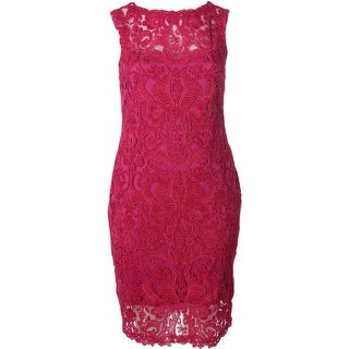 Tadashi Shoji Womens Lace Overlay Sleeveless Cocktail Dress