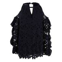 INC Women's Lace Cold-Shoulder Top (M, Black) - Black - M