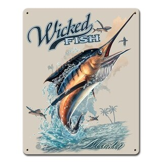 Past Time Signs ERA020 Marlin Wicked Fishing Sign - 12 x 15 in.