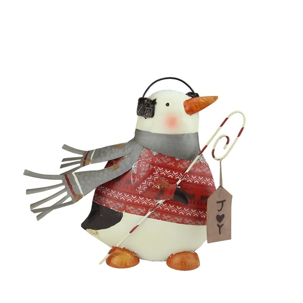 "12"" Penguin in Red Sweater with Candy Cane ""Joy"" Sign Christmas Decoration"