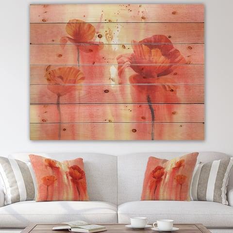 Designart 'Poppy Flower Fields Forever II' Farmhouse Print on Natural Pine Wood