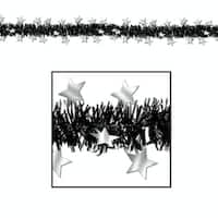 Club Pack of 12 Black and Silver Star Metallic Tinsel New Year Party Garlands 12' - Unlit