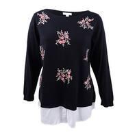 Charter Club Women's Plus Size Embellished Layered-Look Sweater (3X, Deep Black) - Deep Black - 3X