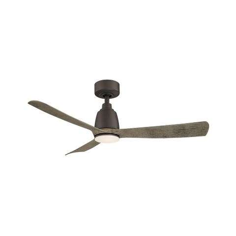 Kute - 44 inch Indoor/Outdoor Ceiling Fan with Weathered Wood Blades - Matte Greige