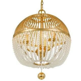 "Crystorama Lighting Group DUV-623  Duval 3 Light 12"" Wide Beaded Globe Chandelier - Antique Gold"