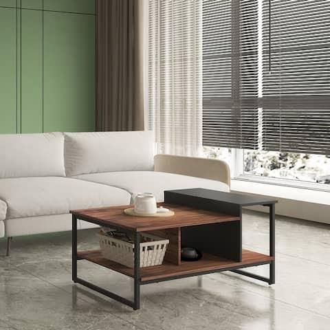 "Morden Retangle Coffee Table with Storage Shelves, Wood, 31.5"""