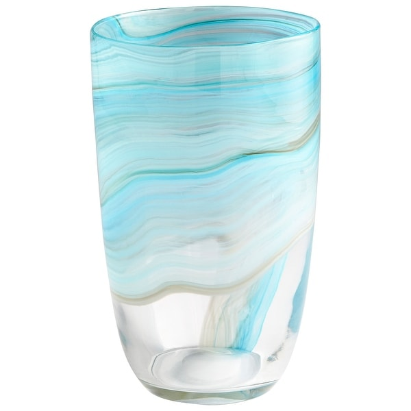 "Cyan Design 09452 Sky 7"" Diameter Glass Vase - Sky Blue"