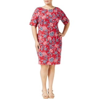 Karen Scott Womens Plus Wear to Work Dress Printed Short Sleeves