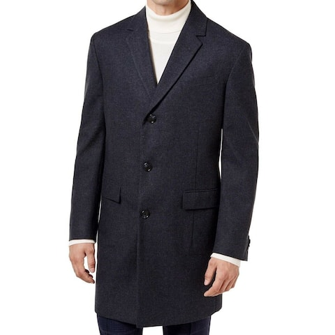 Tommy Hilfiger Mens Overcoat Gray Size 48L Bellville Three Button