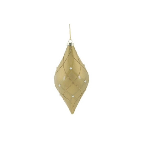 """6.5"""" Matte Taupe Shiny & Gold Glittered Contoured Plaid Pearl Accented Glass Elongate Onion Christmas Ornament - brown"""