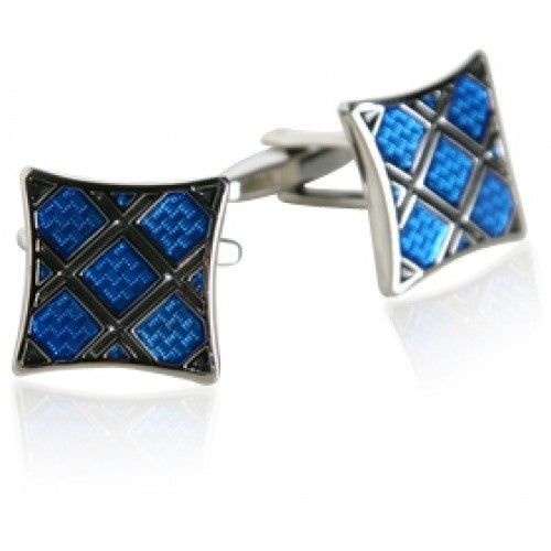 Blue Plaid Silver Cufflinks