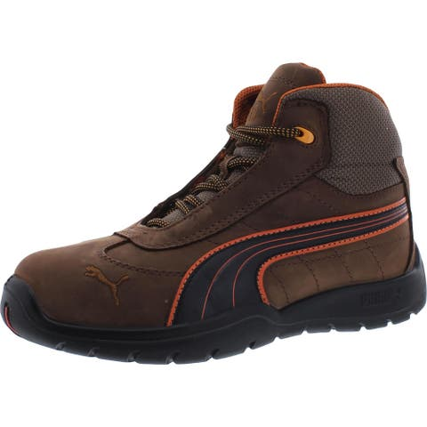 Puma Mens ASTM Safety Shoe Leather Steel Toe - Brown
