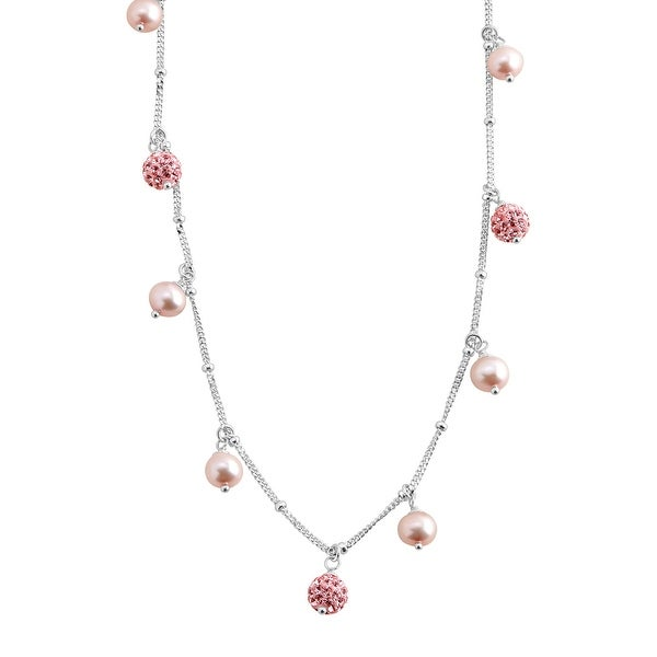 Crystaluxe Girl's Light Pink Freshwater Pearl Necklace with Pink Swarovski Crystals in Sterling Silver