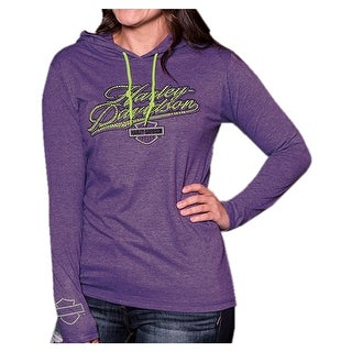 Harley-Davidson Women's Power Ride Long Sleeve Hoodie, Purple & Neon Yellow
