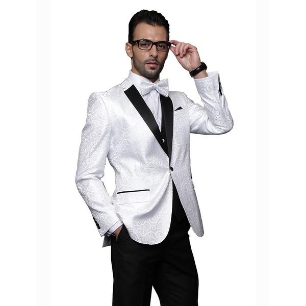 BELLAGIO Men's 3pc WHITE Suit, Modern Fit, 2 Button, 2 Side Vent, solid black Flat Front Pants