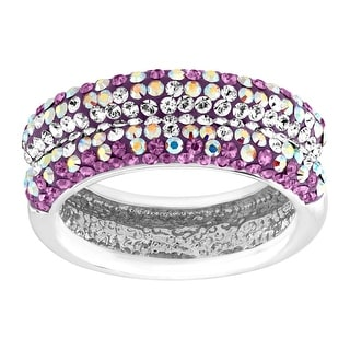 Crystaluxe Concave Band Ring with Swarovski Crystals in Sterling Silver - Purple