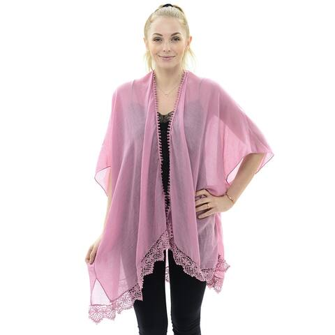 Women Solid Kimono Lightweight Sheer Chiffon Poncho Cover Up