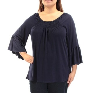 CABLE AND GAUGE $90 Womens 1404 Navy Jewel Neck Bell Sleeve Casual Top XL B+B