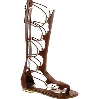 Yoki Women's Anya-50 Knee-High Gladiator Thong Sandals