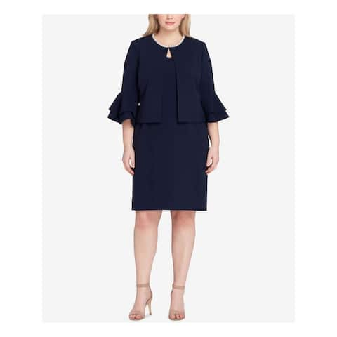 TAHARI Womens Navy Pearl Trim Blazer Wear To Work Jacket Size 22W