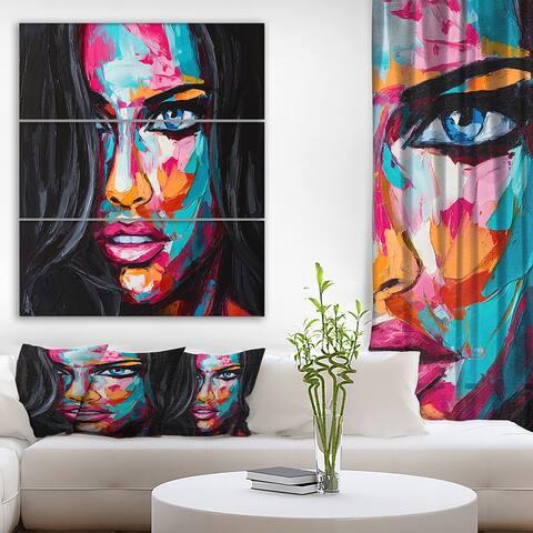 Designart 'Fantasy Woman Oil portrait' Glamour Print on Wrapped Canvas set - 28x36 - 3 Panels