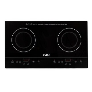 DELLA Dual Induction Counter Top Portable Lightweight Black Cook Top Electric Burner Stove Dual Hot Plate Cooker Stove