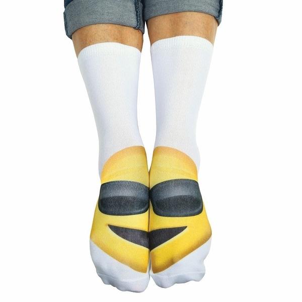 Unisex Adult Glasses Emoji Crew Socks - Matching Text Speak Emoticon Print - One size