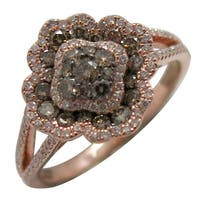 Prism Jewel 0.88CT Round G-H/SI1&I1 Brown Diamond with Natural Diamond Fancy Ring, 14K Rose Gold - White G-H
