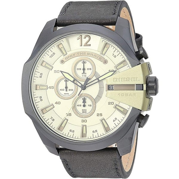 Diesel Men's DZ4495 Mega Chief Black Stainless Steel And Leather Band - 1 Size. Opens flyout.