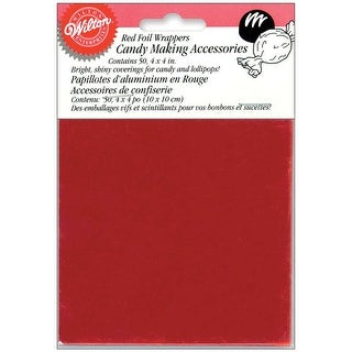 "Foil Candy Wrappers-Red 50/Pkg 4""X4"""