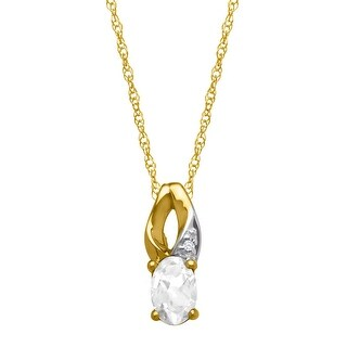 1/2 ct Natural White Topaz Pendant with Diamond in 10K Gold