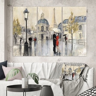 Link to Designart 'Love in Paris I' Romantic French Country  Gallery-wrapped Canvas Similar Items in Canvas Art