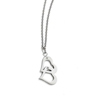 Chisel Stainless Steel Polished Hearts and CZs with 2in ext Necklace - 16.5 in