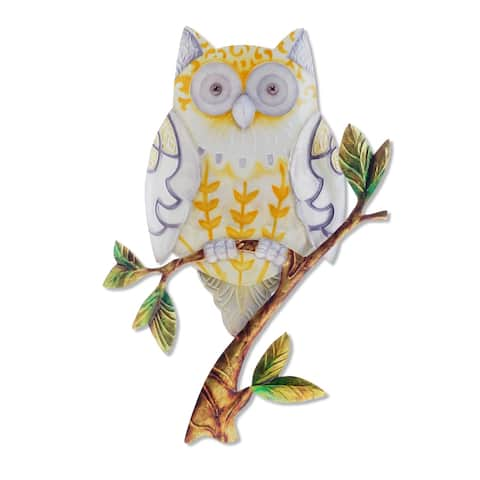 Owl Yellow Wall Decor - 8 x 1 x 9