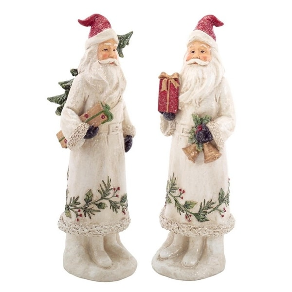 """12.5"""" White Glitter Botanical Santa Claus with Christmas Tree and Gift Holiday Decoration"""