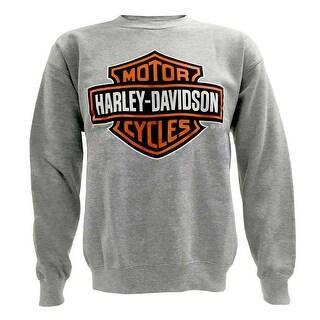 Harley-Davidson Mens Bar & Shield Long Sleeve Crew Neck Fleece Sweatshirt, Gray