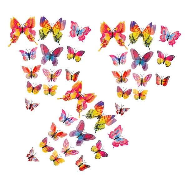 36pcs 3D Butterfly Wall Stickers for Room Decoration Orange Blue - Orange, Blue
