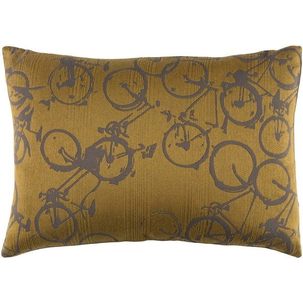 "19"" Yellow and Gray Crazed Cycling Printed Jacquard Rectangular Throw Pillow - Down Filler"