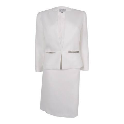 Tahari Women's 'Byron' Sparkle Textured Skirt Suit - Ivory White