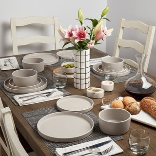 Link to Tabletops Gallery York 12PC Dinnerware Set - Feather Grey Similar Items in Glasses & Barware