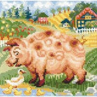 """The Farm Piglet Counted Cross Stitch Kit-8""""X8"""" 10 Count"""