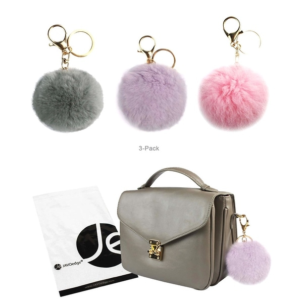 JAVOedge 3 Pack of Furry Pom Pom Style Ball Keychain with Gold Keyring (Gray, Pastel Purple, Pink) - gray, pastel purple, pink