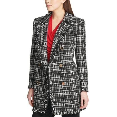 DKNY Womens Dark Romance Plaid Fringe-Trim Topper Jacket 16 Black & White