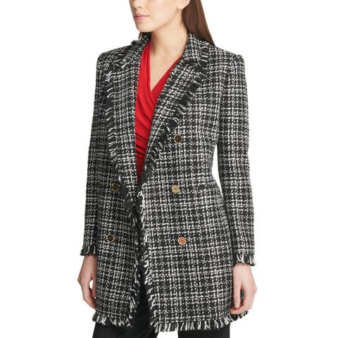 DKNY Womens Dark Romance Plaid Fringe-Trim Topper Jacket 4 Black & White
