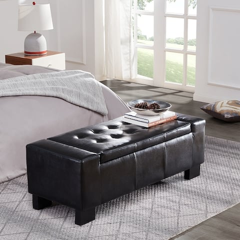 """Belleze 51"""" Rectangular Tufted Storage Faux Leather Ottoman Bench"""